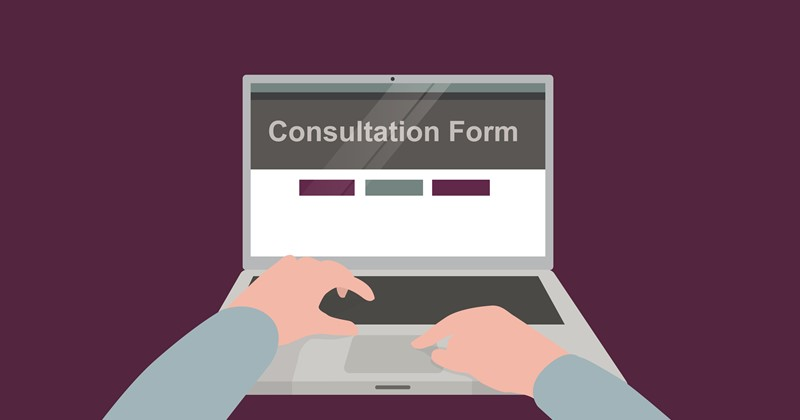 Graphic of person completing consultation online