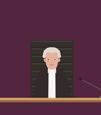 Animated picture of judge addressing the court